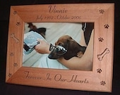 5x7 Personalized Engraved Pet Memorial Cat Dog Wood Frame