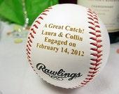 Engraved Engagement Baseball Personalized Bride Groom Wedding Shower Unique Gift Keepsake Anniversary