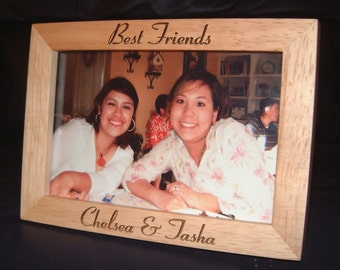 5x7 Personalized Engraved Best Friends Wood Frame BFF Gift