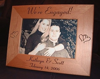 Personalized Custom Engraved 4x6 Engagement Announcement Photo Picture Frame Keepsake Gift We're Engaged
