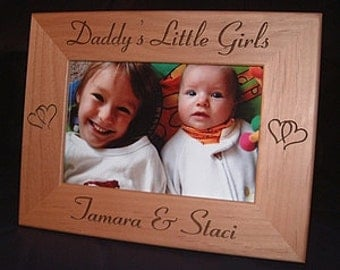 Engraved Daddy's Little Girls, Personalized 4x6 Wood Frame for Dad, Custom Fathers Day Gift, Custom Birthday Christmas Gift for Dad Father