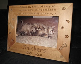 4x6 Personalized Dog Cat Frame, Engraved Pet Frame, Cat Lovers Gift, Dog Lovers Gift, Pet Lovers, Animal Lovers, Pet Memorial Keepsake Poem