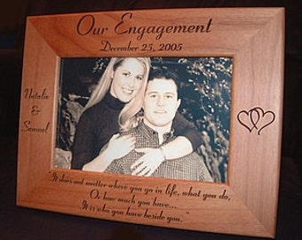 Personalized Engraved 4x6 Engagement Frame Keepsake Gift Our Engagement