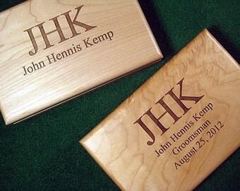 Engraved Valet Wood Box Personalized Groomsman Best Man Usher Keepsake Wedding Graduation gift