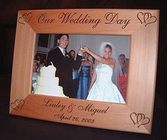Personalized Engraved Our Wedding Day 4x6 Wood Frame Custom Bride ...
