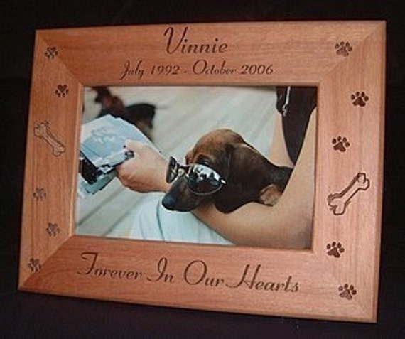 Personalized Engraved Pet Memorial Cat Dog 4x6 Wood Frame
