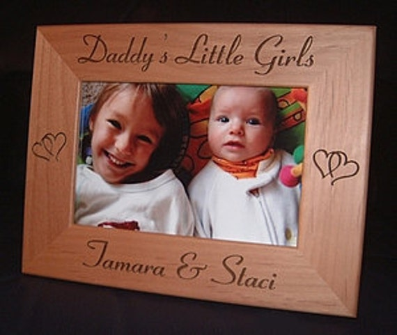 Engraved Daddy S Little Girls Personalized 4x6 Wood Frame