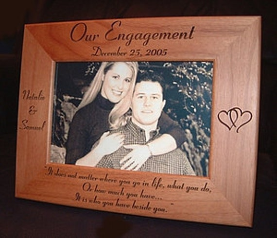 personalized custom engraved 4x6 engagement annoucement frame wedding shower keepsake gift our engagement