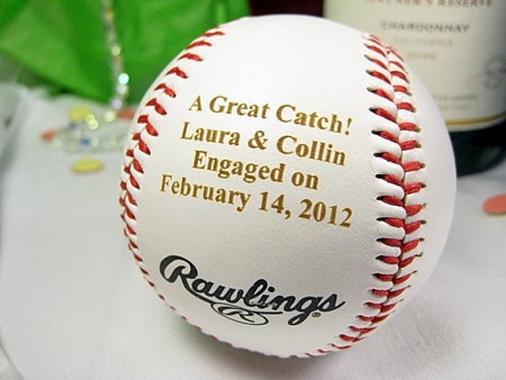 Baseball Wedding Gifts: Engraved Engagement Baseball Personalized Bride By