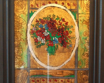 Flowers Gold Leaf, Reverse Glass Painting