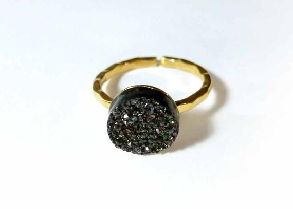 Black Titanium Druzy 18K Vermeil Ring