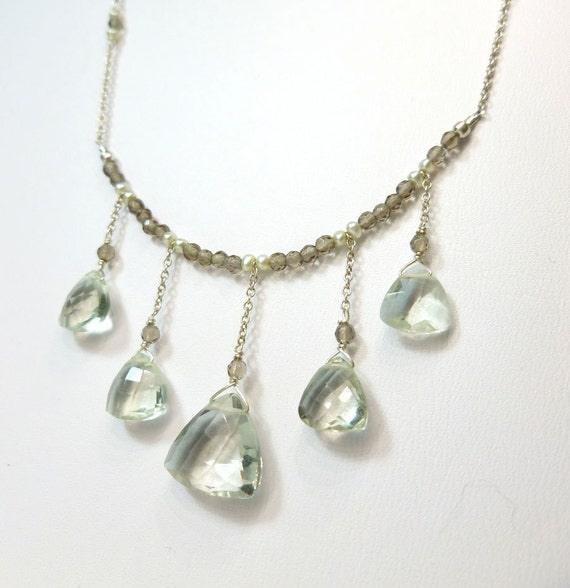 Delicate Green Amethyst and Smoky Quartz Sterling Silver Necklace