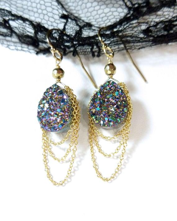 Peacock Titanium Druzy (Drusy) Earrings