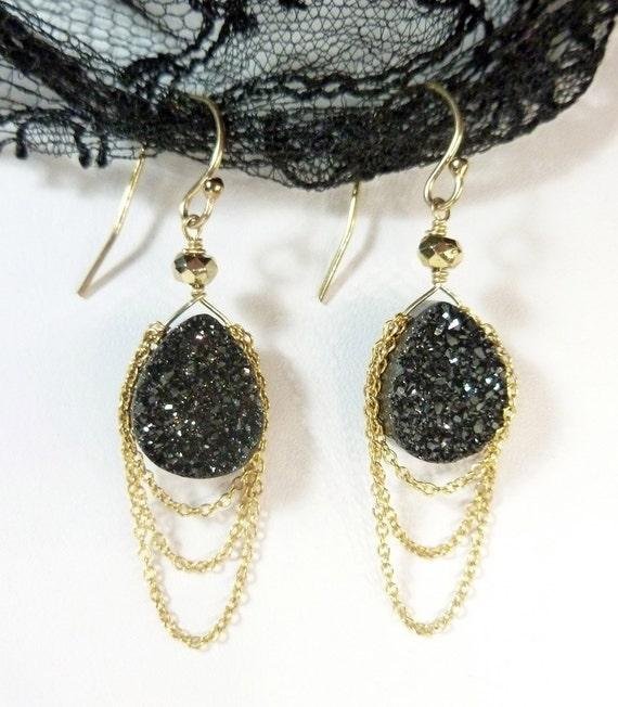 Black Titanium Druzy (Drusy) Earrings