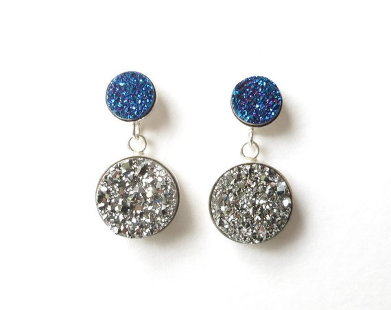 Blue and Silver Titanium Druzy Silver Earrings