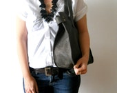 Leather tote, for every day use- dark grey