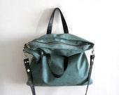 Oversized leather shoulder hobo bag - Turquoise green