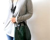 Little leather  basket bag -green