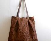 SALE - Oversized wrinkled leather tote - brown