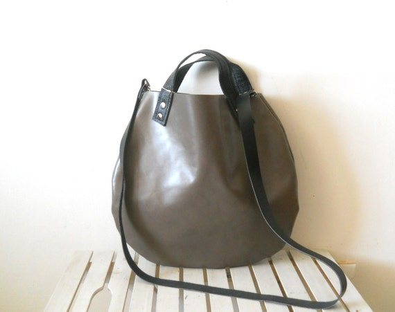 Little leather  basket bag -grey - EMS Shipping Cost customer request
