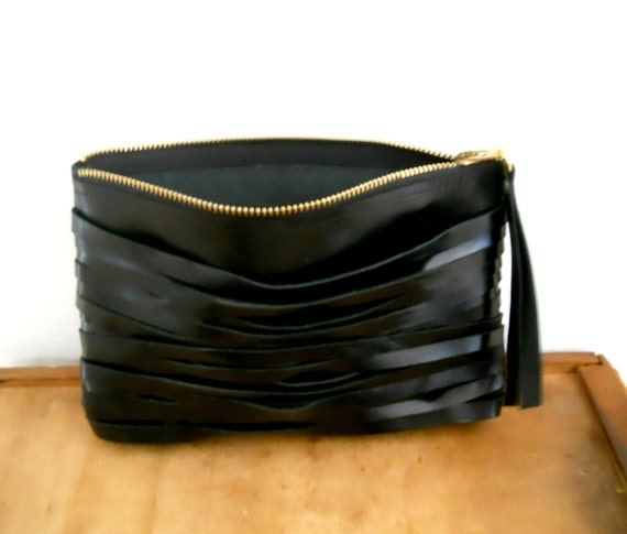 SALE - Black  Leather Clutch, With leather straps on one side