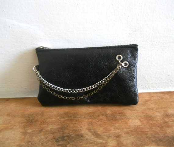SALE - Leather purse for money, tickets and your iPhone - black