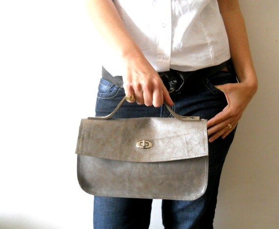 Leather women handbag - Polished silver