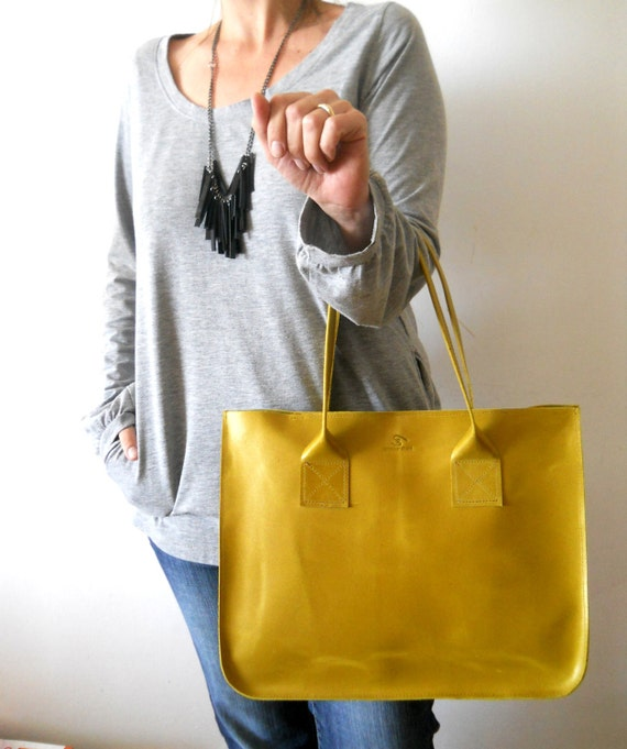 Leather tote, for every day use - yellow lime