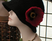 Hand Knit & Felted Black Hat with Red Poppy