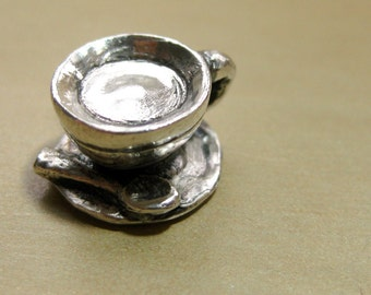 "Coffee Cup Sterling Silver Charm Original- ""Cuppa Joe, Sugar"""