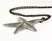 Starfish Necklace in Antiqued Brass