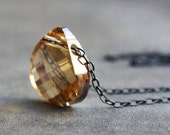 Golden Swarovski Crystal Necklace on Oxidized Sterling Silver Chain
