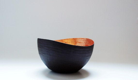 Paper Mache Vessel in  Black and Copper - The Wavy  - Made to order