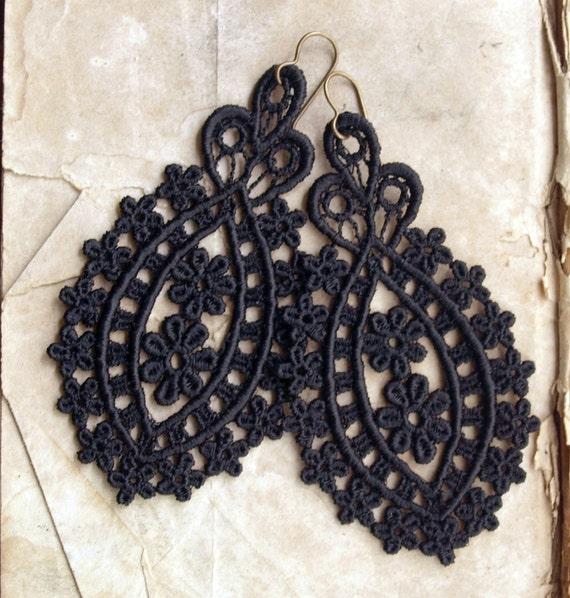 Black Lace Medallion Earrings