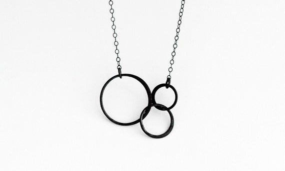 Entwined Oxidized Sterling Silver Circles Necklace