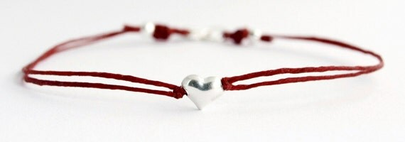 Tiny Heart Bracelet in Sterling Silver and Red Irish Linen
