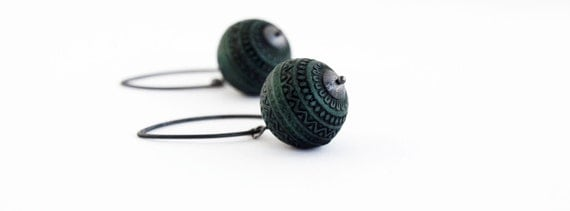 Vintage Lucite Teal Earrings on Oxidized Sterling Silver
