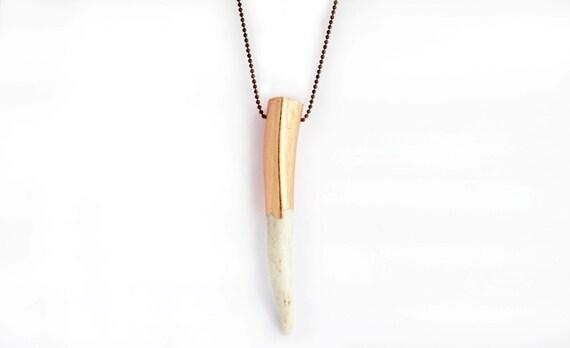 Copper leaf Antler Necklace