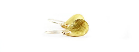 Simple Gold Textured Teardrop Earrings in Gold Filled and Vermeil - Dainty Everyday Earrings