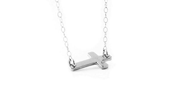 Sideways Cross Necklace in Sterling Silver - Trendy Everyday Jewelry