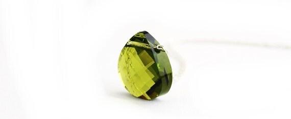 Simple Olive Crystal Necklace  -  Swarovski crystal and Sterling Silver