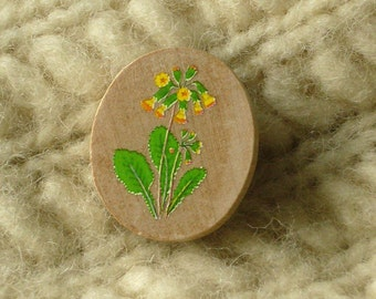 cowslip wildwood flower oval wooden brooch