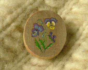 violas and forgetmenots wildwood flower wooden brooch