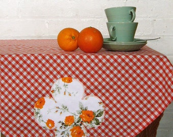 mojave rose orange gingham picnic tablecloth