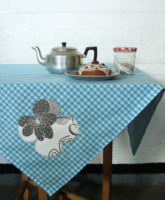 blue skies and grey petals square gingham picnic tablecloth