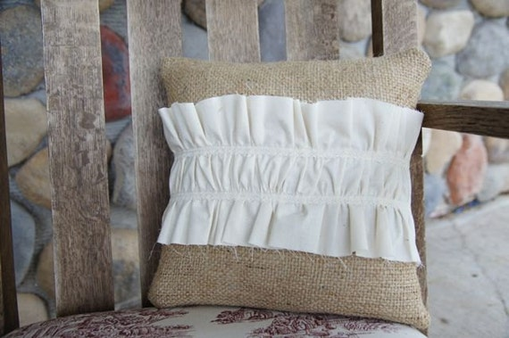 Burlap and Muslin Pillow