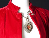RESERVED for Bianca Red velvet cape, sumptuous, handmade, may attract a big bad wolf or two