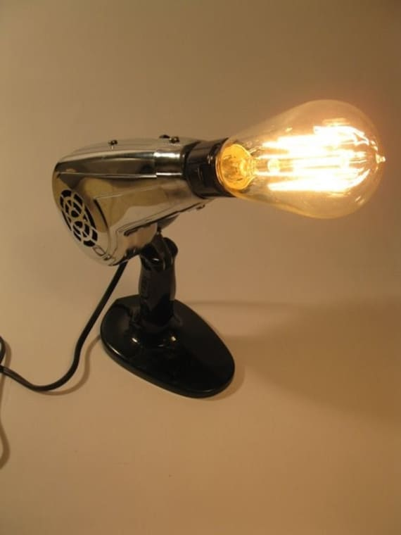 Vintage blow dryer upcycled into lamp for home or salon