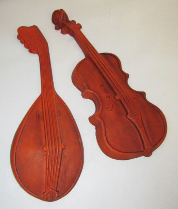 Vintage violin and lute wall hanging instruments, gorgeous autumn pumpkin color and metal by Royal