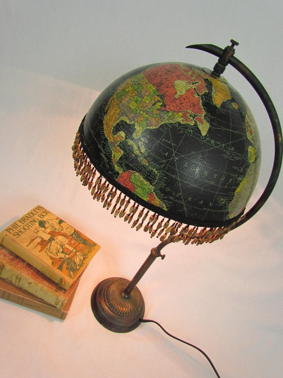 Vintage black globe table lamp, upcycled from antique copper lamp base.